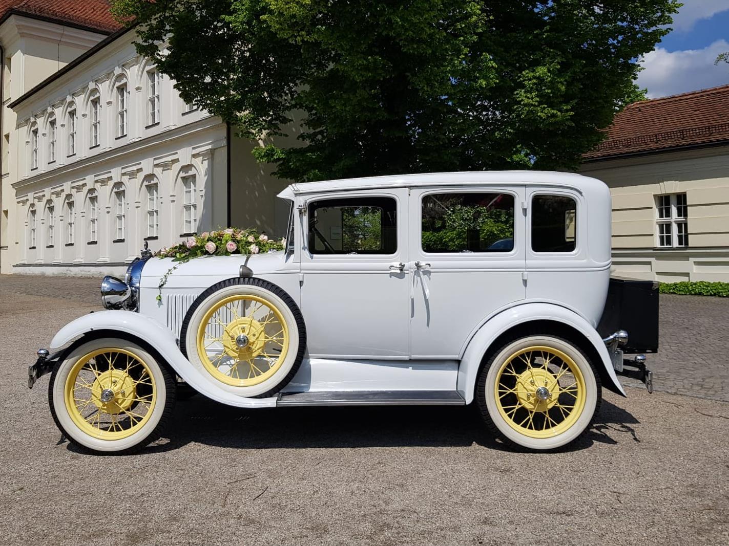 brautlimousine ford model a town sedan baujahr 1929 weiß